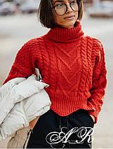 Женский укороченный свитер объемной вязки под горло 42-46 р, фото 2