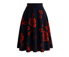 Стильная повседневная макси юбка с розами, фото 3