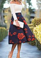 Стильная повседневная макси юбка с розами