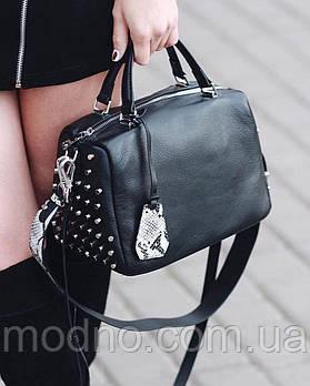 Женская кожаная сумка через и на плечо с широким ремешком Polina & Eiterou