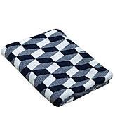 Плед вязаный 130х180 Прованс - CUBES темно-синій - білий