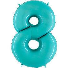 """Фольгована кулька цифра пастель Аквамарин """"8"""" """"40"""" Grabo"""