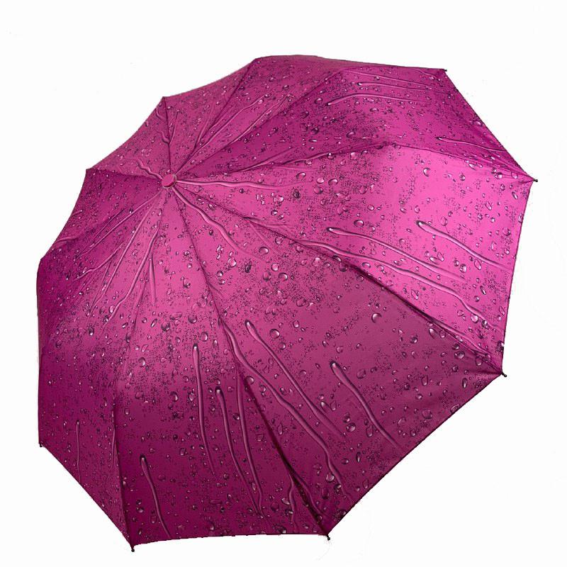 """Складаний зонт жіночий напівавтомат """"Краплі дощу"""" від SL, бузковий, 497SL-2"""