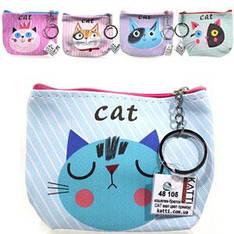 48105 кошелек-брелок KATTi малый CATs цветной прямоугольный в ассортименте 12х9см