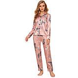 Пижама женская атласная на пуговицах. Комплект шелковый для дома, сна с длинным рукавом, р. S (розовый), фото 4