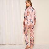 Пижама женская атласная на пуговицах. Комплект шелковый для дома, сна с длинным рукавом, р. S (розовый), фото 5