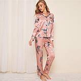 Пижама женская атласная на пуговицах. Комплект шелковый для дома, сна с длинным рукавом, р. S (розовый), фото 3