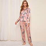 Пижама женская атласная на пуговицах. Комплект шелковый для дома, сна с длинным рукавом, р. S (розовый), фото 2