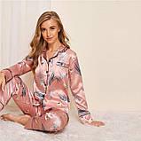 Пижама женская атласная на пуговицах. Комплект шелковый для дома, сна с длинным рукавом, р. S (розовый), фото 6