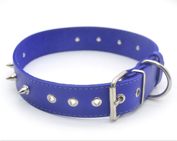 Ошейник для собак кожаный с шипами ОШ 4,0/49-60 фиолетовый распродажа нестандарт