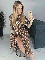 Платье ниже колена на пуговицах коричневое в белый горох