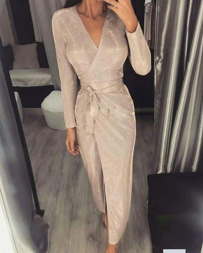 Блестящее женское платье миди с длинным рукавом на запах