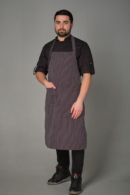 Мужской фартук для официанта и бармена серого цвета в полоску