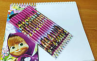 """Набор для рисования: альбом на спирали 60 листов + карандаши 12 цв. """"Маша и медведь"""" (14,5*21 см.)"""