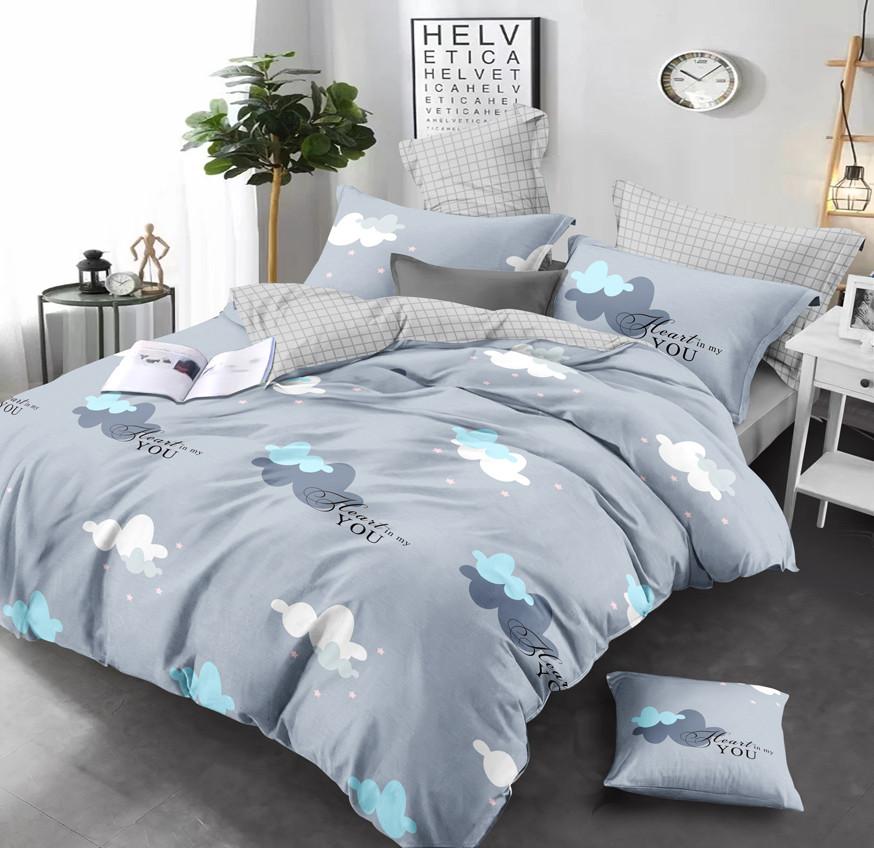Двуспальный комплект постельного белья евро 200*220 сатин (13646) TM КРИСПОЛ Украина