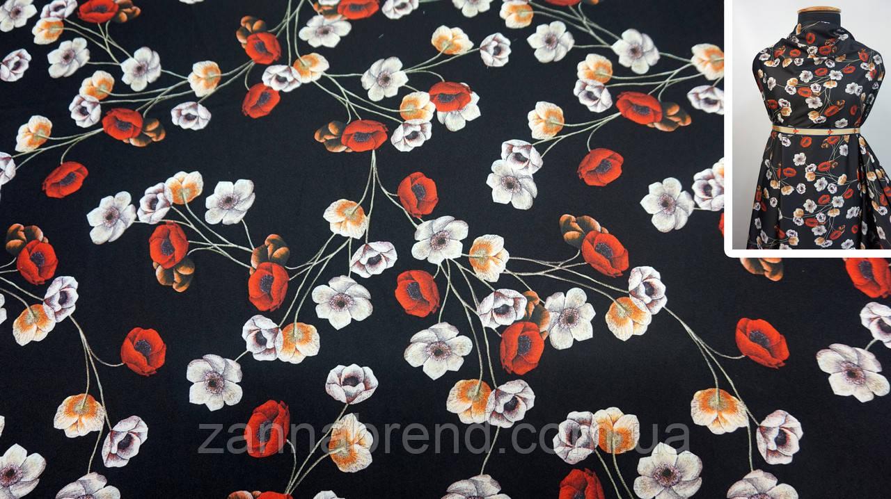 Тканина шовк Армані чорного кольору з квітковим принтом