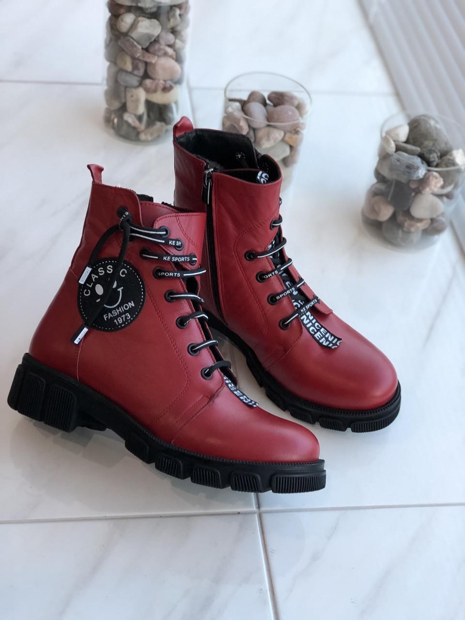 Червоні жіночі зимові черевики шкіра Туреччина 38р.