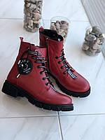 Красные женские зимние ботинки кожа Турция 38р., фото 1