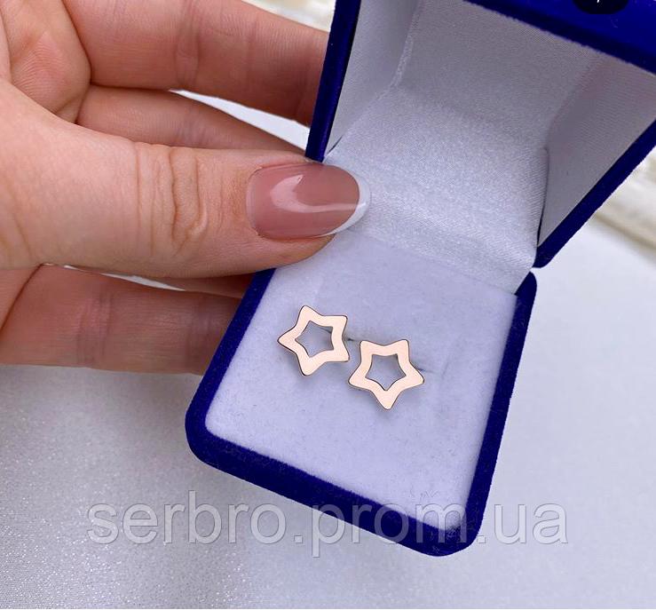 Сережки гвоздики с золотом в серебре Звезды