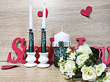 Набор свадебных свечей Je t'aime. Цвет изумрудно-серебряный., фото 2