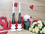 Набор свадебных свечей Je t'aime. Цвет изумрудно-серебряный., фото 3