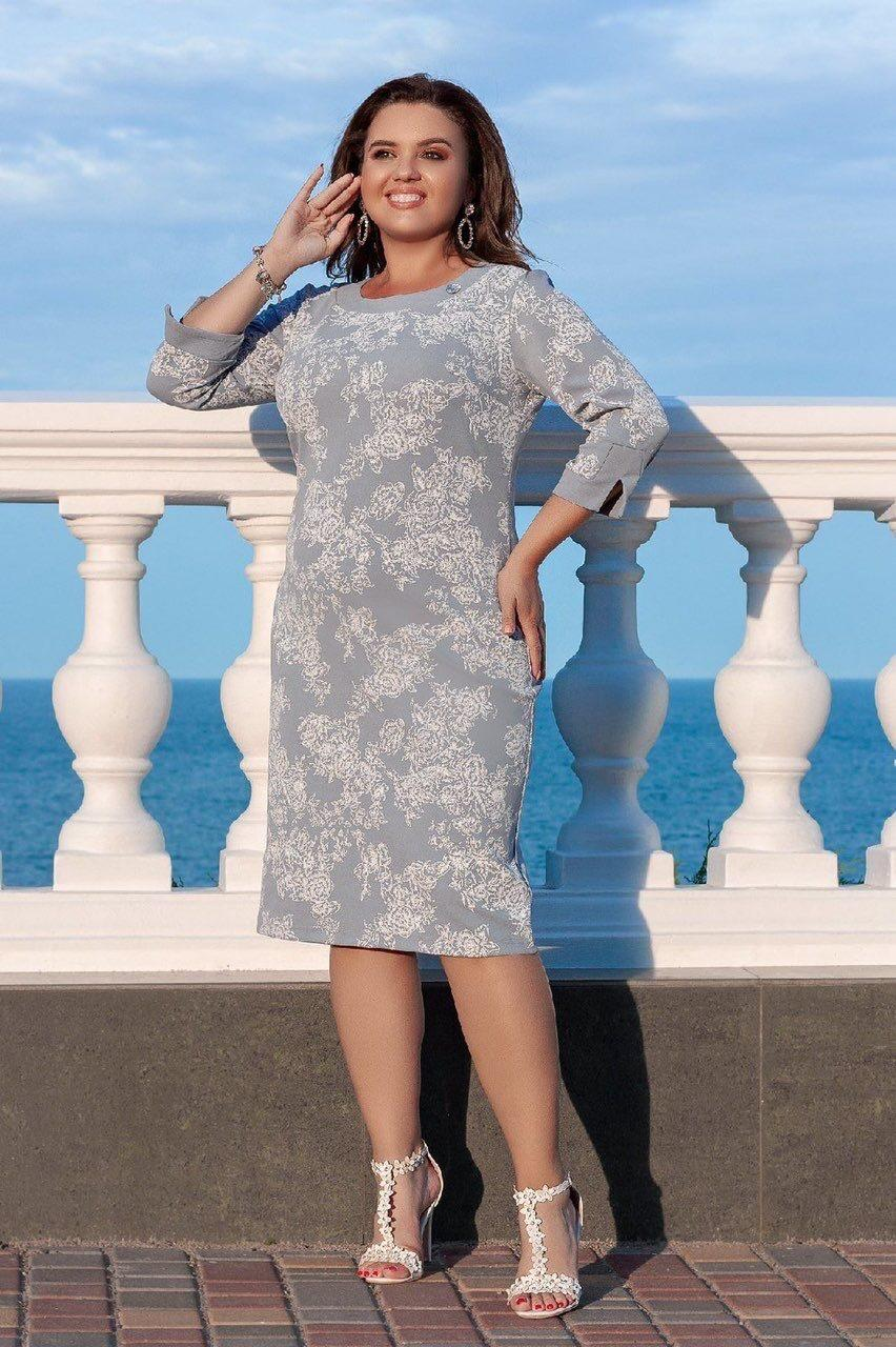 "Элегантное женское платье ткань ""Креп-дайвинг"" 50 размер батал"