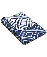 Плед вязаный 130х180 Прованс - Плитка синій меланж-біла