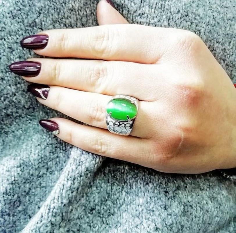 Перстень с зеленым улекситом серебро Стелла