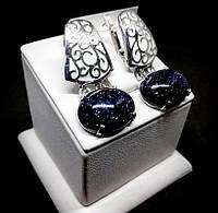 Серьги с авантюрином и белой эмалью серебро Стелла