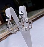Срібні сережки з круглим підвісом і цирконом Марселіна, фото 3