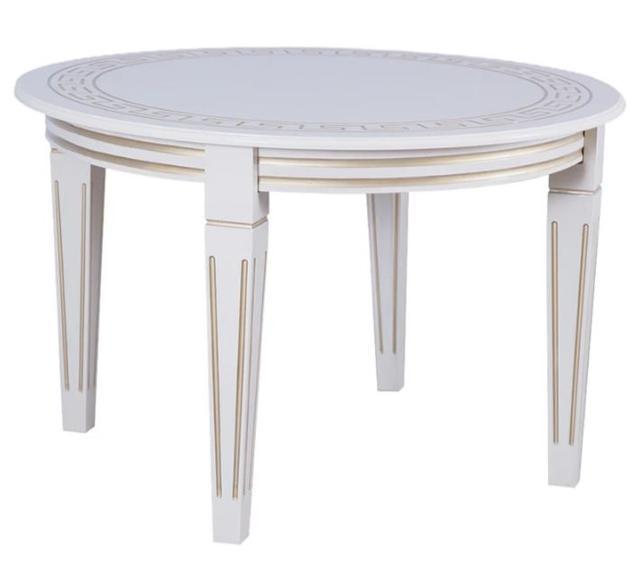 Стол круглый Волевр белый + патина