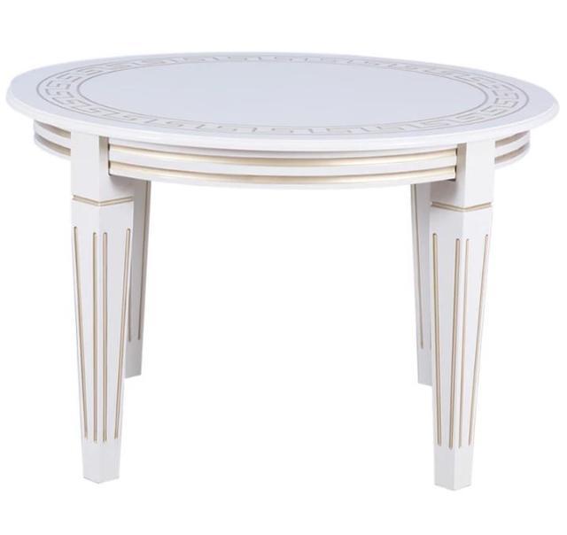 Стол круглый Волевр белый + патина (2)