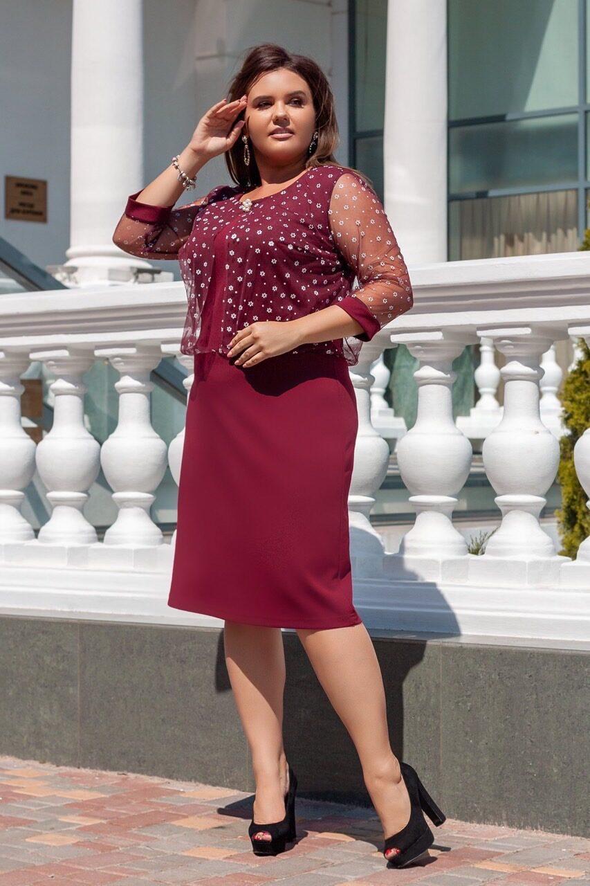 """Великолепное женское платье с вшитой накидкой ткань """"Креп-дайвинг"""" 52, 54, 56, 58  размер батал"""
