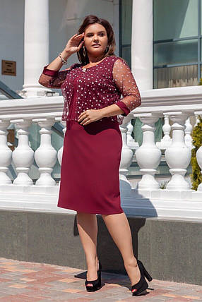 """Великолепное женское платье с вшитой накидкой ткань """"Креп-дайвинг"""" 52, 54, 56, 58  размер батал, фото 2"""