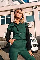 Костюм брючный женский с высокой талией Зеленый с черным