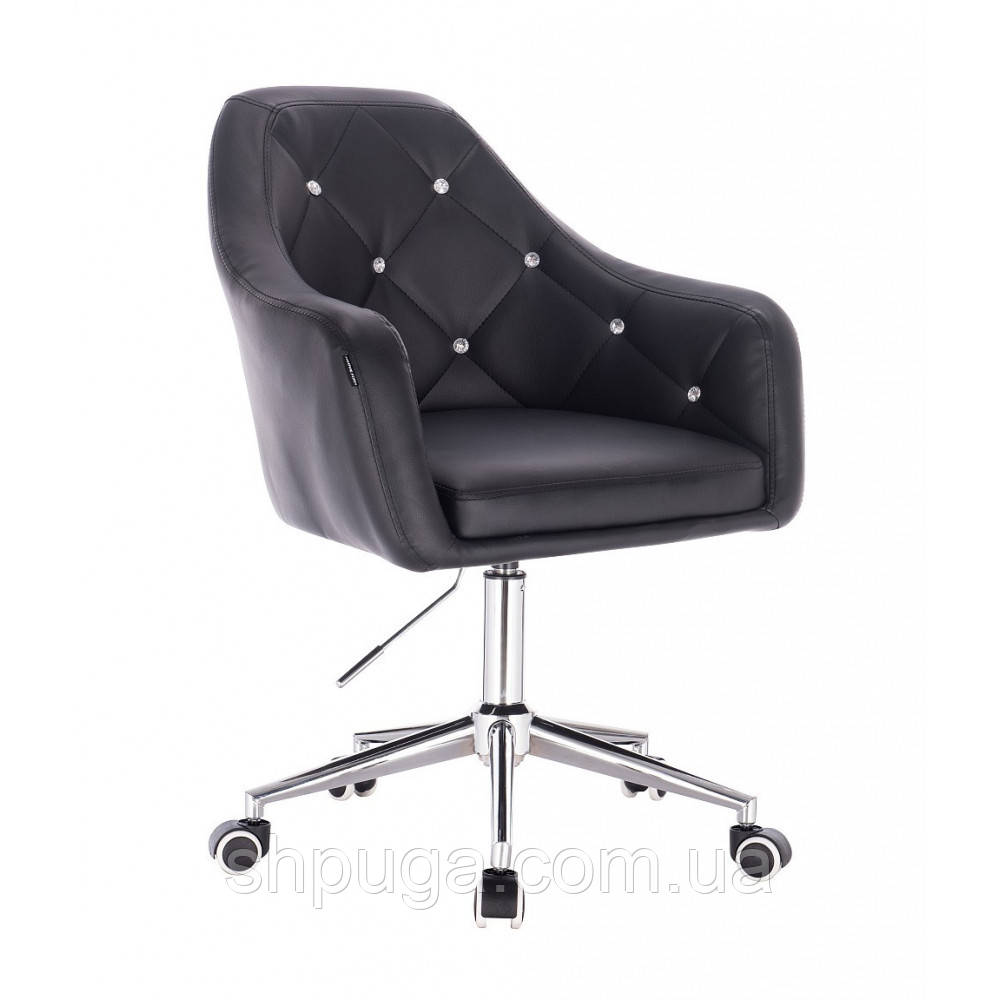Косметическое кресло HR830 черный  кожзам , колеса.