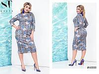 """Комфортное женское платье ткань мягкая """"Ангора"""" с кармашками 48, 50 размеры баталы"""