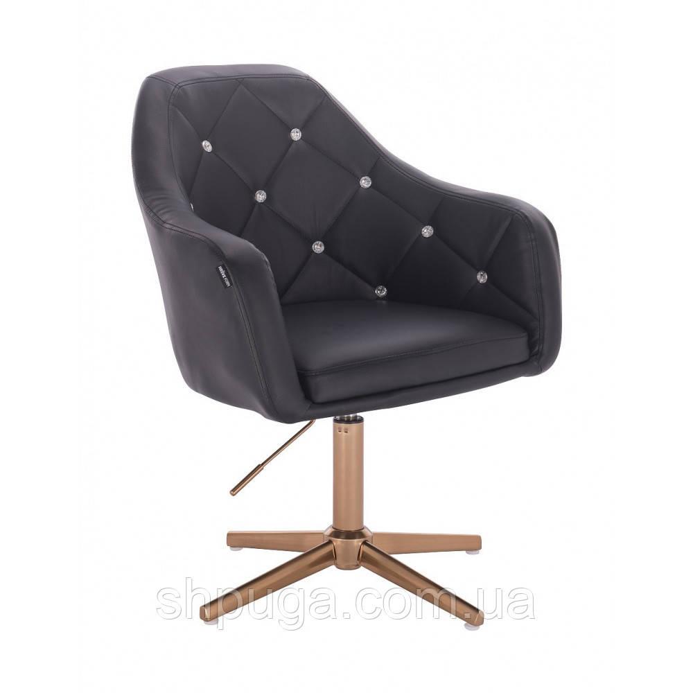 Кресло HR830 черный  кожзам , стопки , основание золотистое.