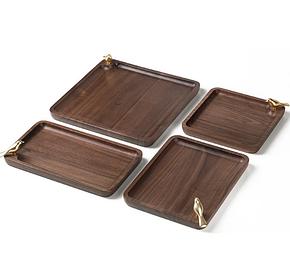 Набор подносов из черного дерева Xiaomi Tongshifu Copper Master Candy Tray Set (4 шт.)