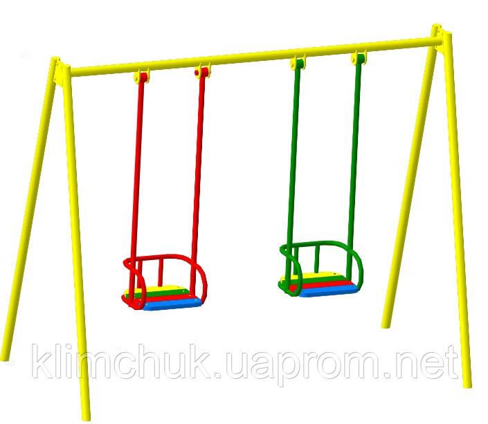 Гойдалка подвійна на жорстких підвісах для дитячих ігрових майданчиків KidSport
