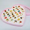 Набор колец детских в коробке-сердце 36 штук