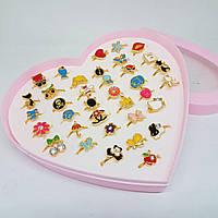 Набор колец детских в коробке-сердце 36 штук, фото 1
