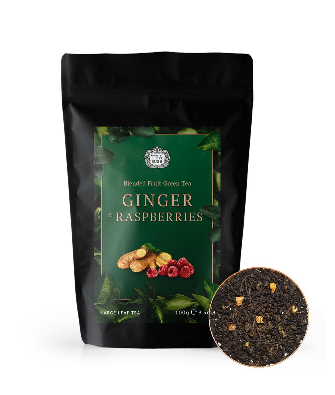 Чай Зеленый Имбирь малина 50 грамм