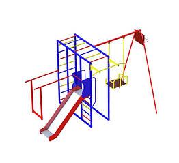 Дитячий спортивно-ігровий комплекс з гойдалкою і гіркою з нержавійки
