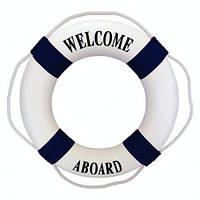 """Спасательный круг """"Welcome Aboard"""" d-50 см для декора бело-синий"""