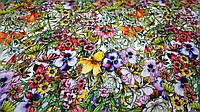 "Ткань шелк Армани ""Цветочный хаос"", фото 1"