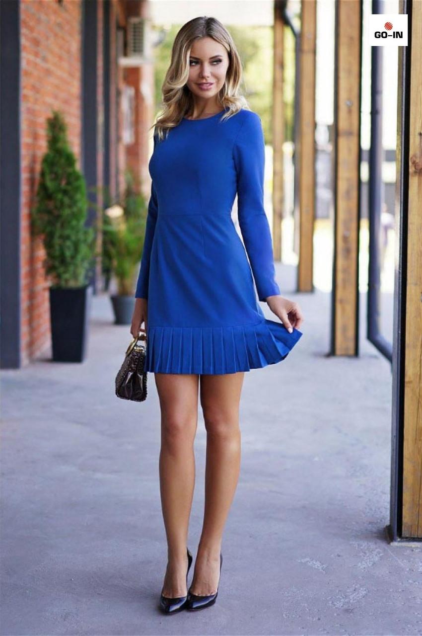 Коротке плаття з пишною спідницею до колін сині
