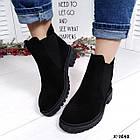 Женские демисезонные ботинки в черном цвете из натуральной замши, фото 2