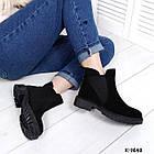 Женские демисезонные ботинки в черном цвете из натуральной замши, фото 4