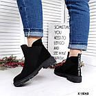 Женские демисезонные ботинки в черном цвете из натуральной замши, фото 5
